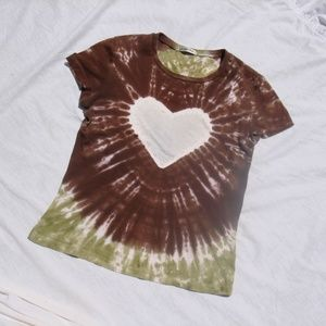 Vintage Tie Dyed TShirt Heart Shape Hippie Top